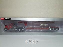 Peterbilt 379 Rogers 3-Axle Lowboy Red All Crane WSI 150 Scale #31-1002 New